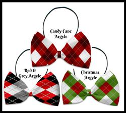 Christmas Argyle Collection Pet Bow Ties