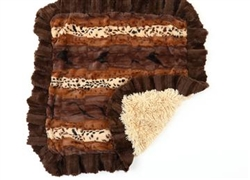 Exotic Brown Mink Blankets Choc Mink Ruffle, Cream Shag Bottom