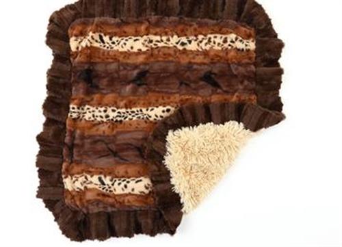 Exotic Brown Mink Blankets Choc Mink Ruffle, Cream Shag Bottom