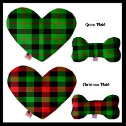 Christmas Plaid Collection Bone and Heart Dog Toys