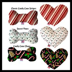Candy Cane Collection Bone and Heart Christmas Dog Toys