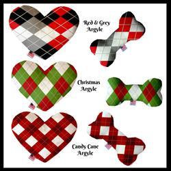 Christmas Argyle Bone and Heart Dog Toys
