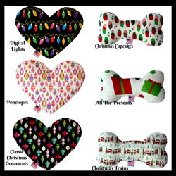 Christmas Fun Collection Bone and Heart Dog Toys