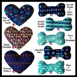 Hanukkah Collection Bone and Heart Dog Toys
