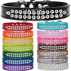 Two Row Clear Jewel Croc Dog Collar