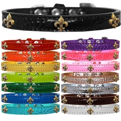 Bronze Fleur De Lis Widget Croc Dog Collar