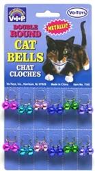 DOUBLE ROUND METALLIC CAT BELLS  (10mm) 12 per card