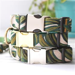 'Tropic' Monstera Plant Canvas Dog Collars & Leashes -- 3 Colors
