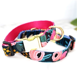 FLEUR Floral Canvas Dog Collar w Rifle Paper Co. Fabric -- Midnight Navy