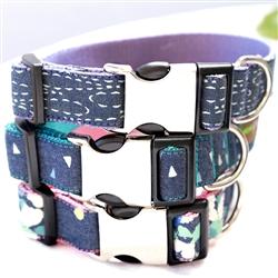 Denim Dog Collars & Leashes -- 3 Colors
