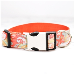 'Paisley' Orange Cotton Voile Dog Collars & Leashes