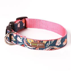 'Flora' Pink Floral Cotton Voile Dog Collars & Leashes