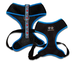 Air Comfort Dog Harness- Black/ Doggie Dials /Blue