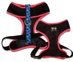 Air Comfort Dog Harness- Black/ Ocean Blocks / Pink