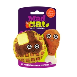 Mad Cat® Chicken and Waffles Twin Pack CAT TOY w/Catnip & Silvervine 4 Pack $12.00 ($3.00 EA)