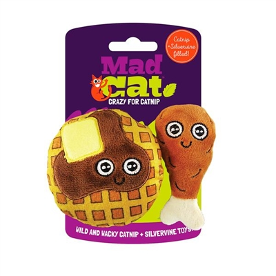 Mad Cat® Chicken and Waffles Twin Pack CAT TOY w/Catnip & Silvervine 4 Pack $12.36 ($3.09 EA)