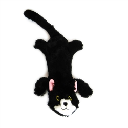 Black Flat Cat Dog Toy w/ Rope