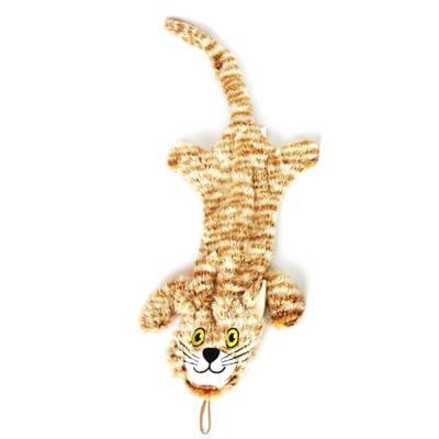 Striped Flat Cat Dog Toy w/ Rope
