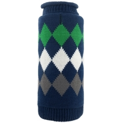 Modern Argyle Navy Roll Neck Sweater