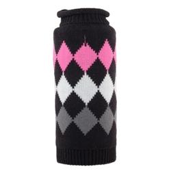 Modern Argyle Black Roll Neck Sweater