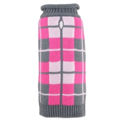 Oxford Plaid Pink Roll Neck Sweater