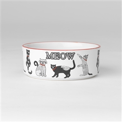 Retro Meow Bowl in White/Red, 2 cups