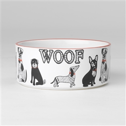 Retro Woof Bowl in White/Red, 3.5 cups