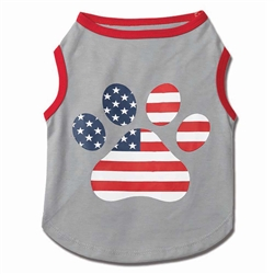 Flag Paw Print Tee in Gray