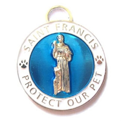 Large Light Blue / White St. Francis Medallion