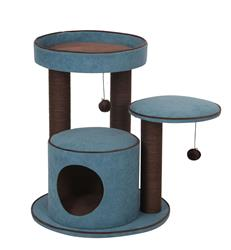 """Petpals, Meadows Blue 26"""" Cat Tree with Condo, Perch, Paper Rope Posts, and Toys"""