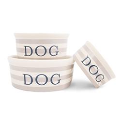 Vintage Stripe Ceramic Dog Bowl