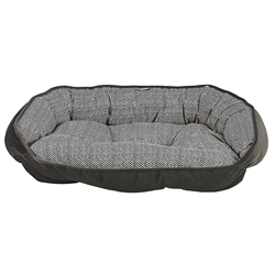 Herringbone Microvelvet Crescent Bed with Ash Bottom / Trim