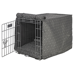 Cosmic Grey Micro Jacquard Luxury Crate Cover with Cosmic Grey Piping
