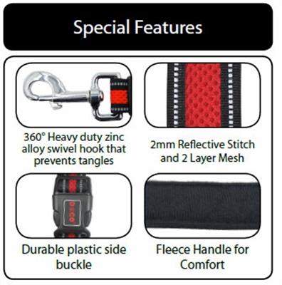 DOCO® Athletica Easy-Snap Air Leash 5ft Reflective
