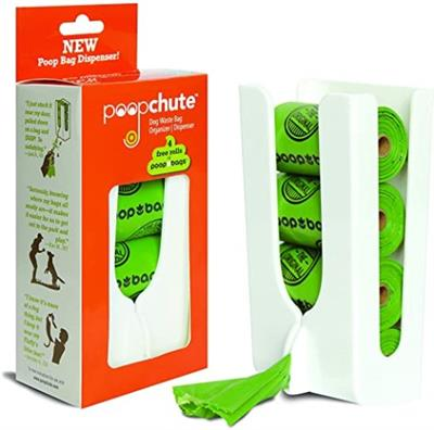 PoopChute™ Doggy Waste Bag Dispenser with 4 Free Rolls of Biobased Poop Bags