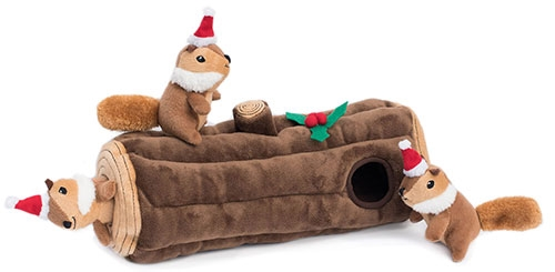 Yule Log Burrow with Chipmunks by Zippy Paws