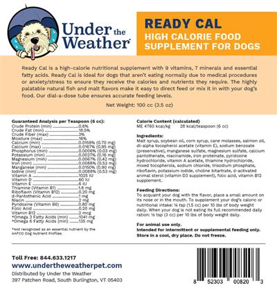 Ready Cal for Dogs, 100g dispenser by Under the Weather