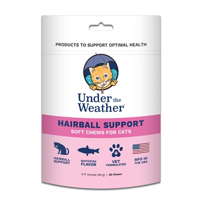Hairball Support Soft Chews for Cats - 60 chews per pouch by Under the Weather