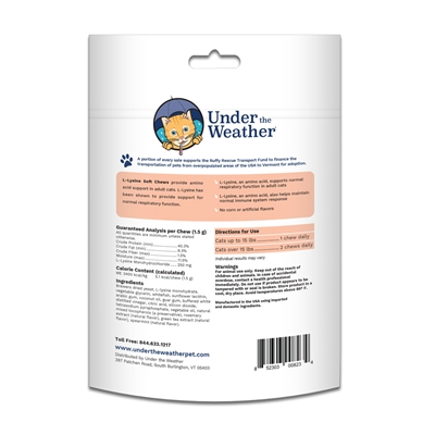 L-Lysine Soft Chews for Cats - 60 chews per pouch by Under the Weather