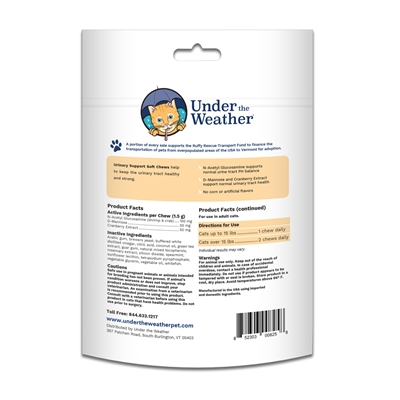 Urinary Support Soft Chews for Cats - 60 chews per pouch by Under the Weather