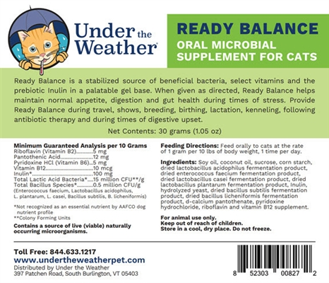 Ready Balance Probiotic Gel for Cats 12 pack Display, 30g dispenser by Under the Weather