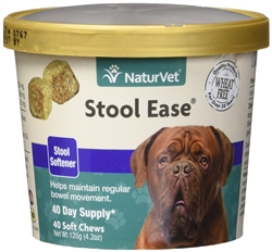 NaturVet Stool Ease Stool Softener for Dogs, 40 ct Soft Chews