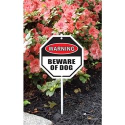 "Warning Beware of Dog Garden Sign 8.5"" x 8.5"" x 18"" tall"