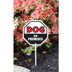 "Dog on Premises Garden Sign 8.5"" x 8.5"" x 18"" tall"