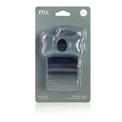 Dispenser 60 bags/3 rolls, Black & Grey by Modern Kanine