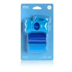 Modern Kanine - Dispenser 60 bags/3 rolls, Blue & Light Blue