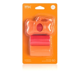 Modern Kanine - Dispenser 60 bags/3 rolls, Orange & Coral