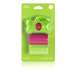 Dispenser 60 bags/3 rolls, Green & Pink by Modern Kanine