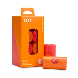 Modern Kanine - Box of 160 bags/8 rolls, Orange & Coral