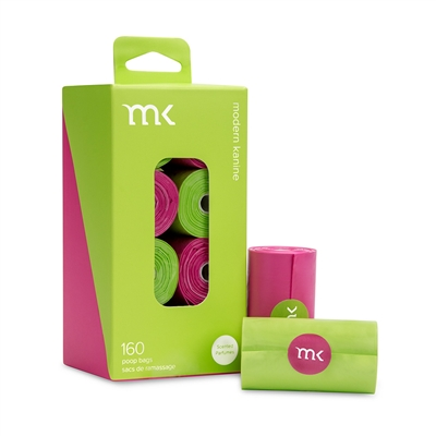 Box of 160 bags/8 rolls, Green & Pink by Modern Kanine